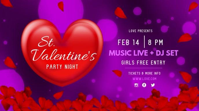 Purple Valentine's Night Party Digital Display Video template