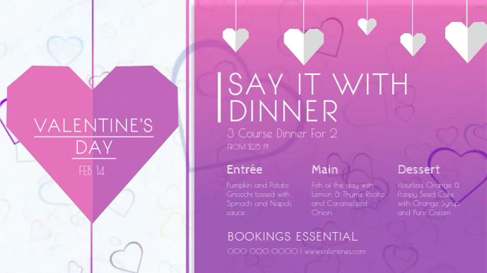 Purple Valentine Dinner Digital Display Video