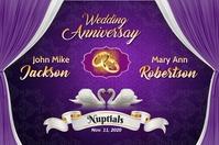Purple Wedding Cartel de 4 × 6 pulg. template