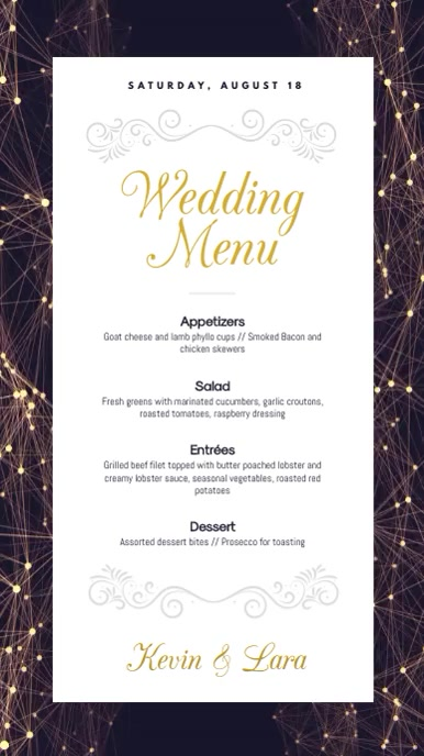 Purple Wedding Menu Digital Display Video