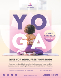 Purple Weekly Yoga Class Flyer Template Volante (Carta US)