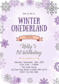 Purple Winter onederland birthday invitation