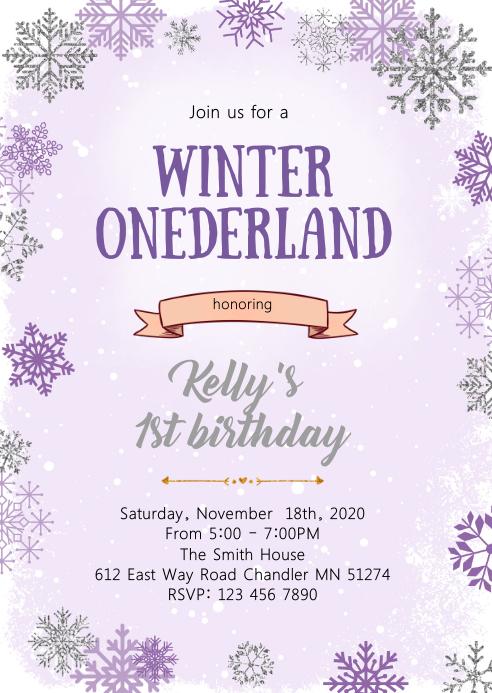 Purple Winter onederland birthday invitation