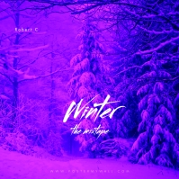 Purple Winter Snow Mixtape CD Cover Music template