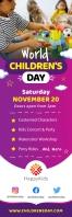 Purple World Children's Day Banner Bannier 2' × 6' template