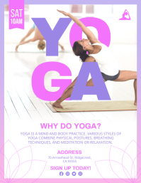 Purple Yoga and Fitness Lesson Flyer Template Volante (Carta US)