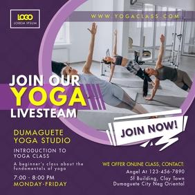 Purple Yoga Livestream Classes Advert
