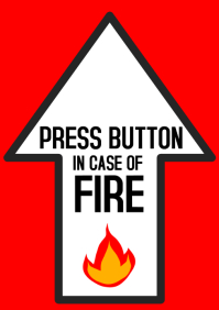 push button in case of fire, fire safety, arrow up