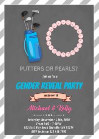 Putter or pearls gender reveal card