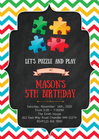 Puzzle birthday party invitation
