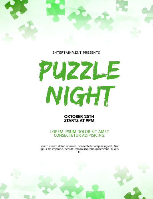 Puzzle Night Flyer Design Template