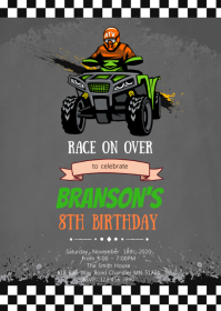 Quad bike birthday invitation