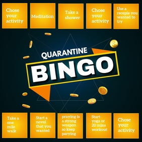 Quarantine bingo Template,Covid 19 Instagram Post