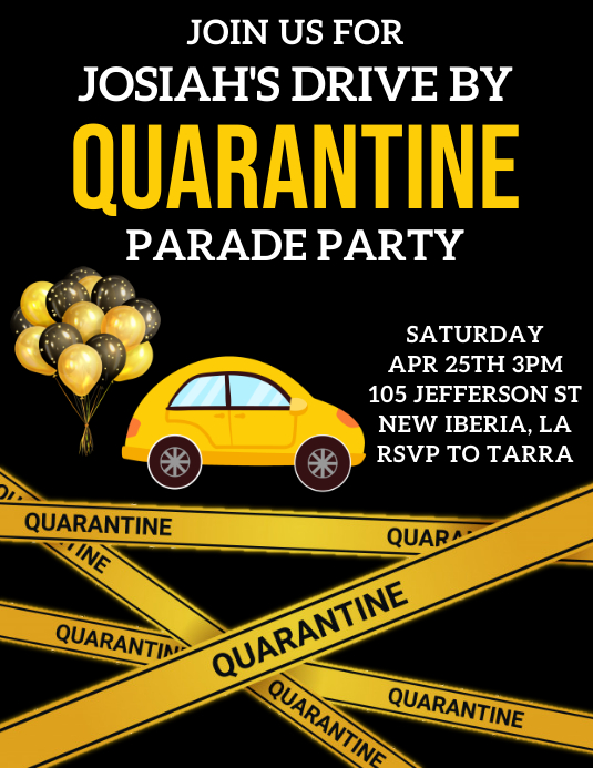 QUARANTINE BIRTHDAY PARADE PARTY TEMPLATE Flyer (US Letter)