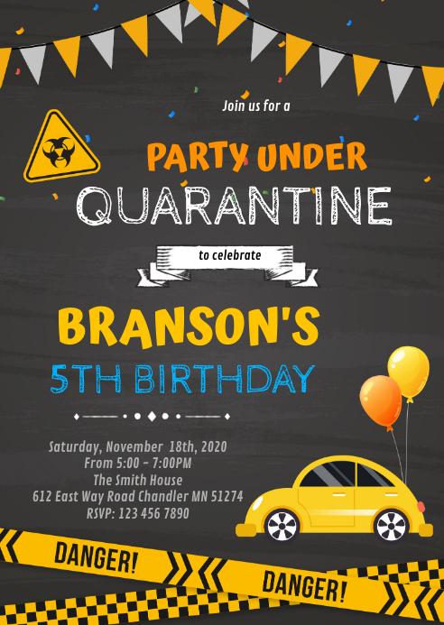 Quarantine Drive By Birthday invitation A6 template