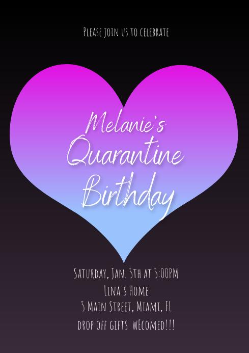 Quarantine Valentines Birthday Invitation A4 template