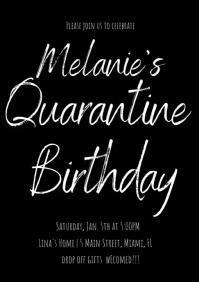 Quarantine Valentines Birthday Invitation Vid A4 template