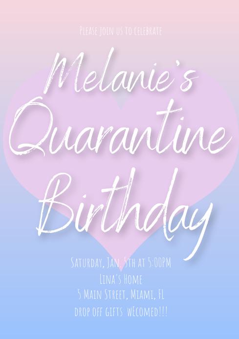 Quarantine Valentines Birthday Invitations A4 template