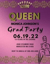 Queen Graduation Party Flyer Invitation template