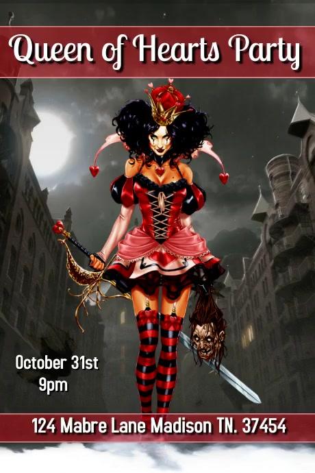 Queen of Hearts Party โปสเตอร์ template