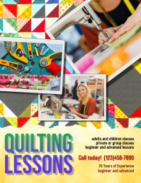 quilting Lessons Instruction Flyer template
