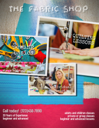 quilting or sewing Lessons Instruction Flyer