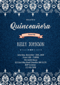 Quinceañera Jean diamond theme invitation A6 template