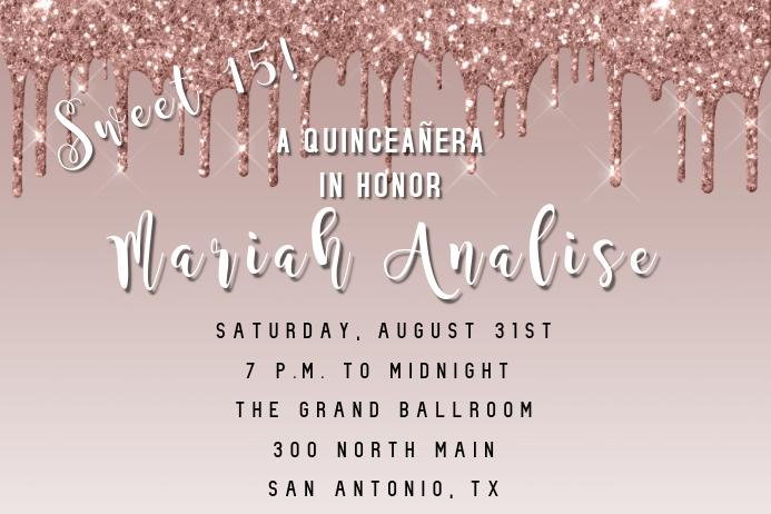 Quinceañera Rose Gold Glitter Invite