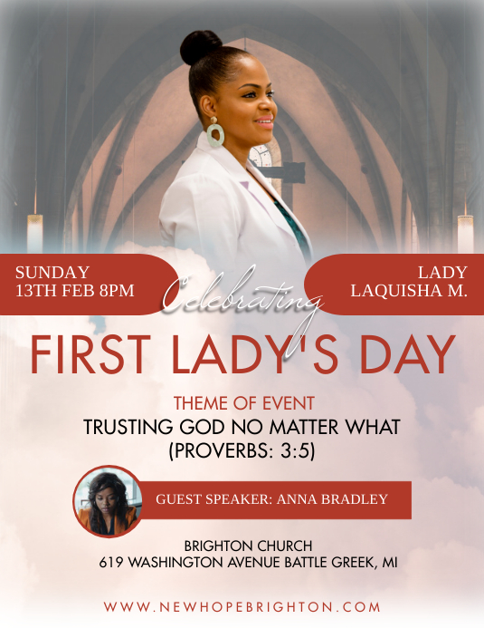 Quirky Brown First Lady Day Church Flyer Temp template