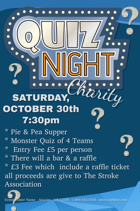quiz night charity template