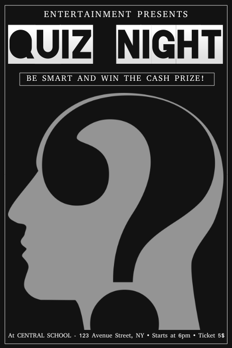 quiz night poster flyer template dark brain