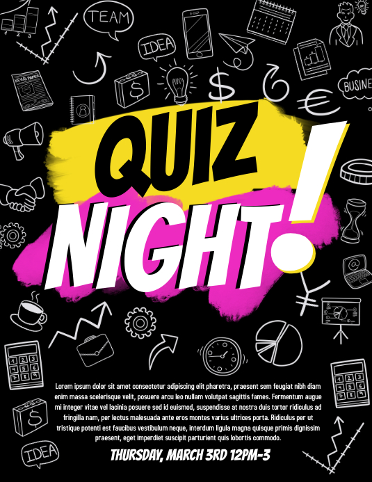 quiz night Pamflet (Letter AS) template