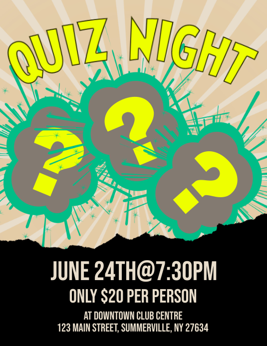 Quiz Night Flyer Løbeseddel (US Letter) template