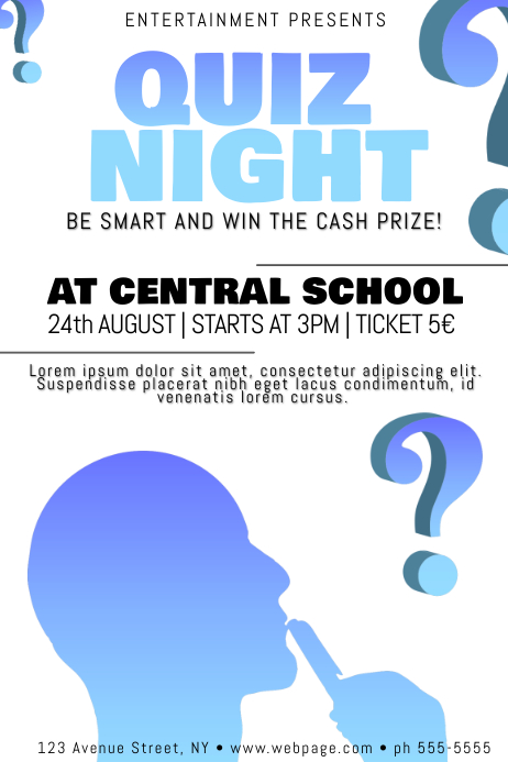 quiz night poster flyer template   PosterMyWall