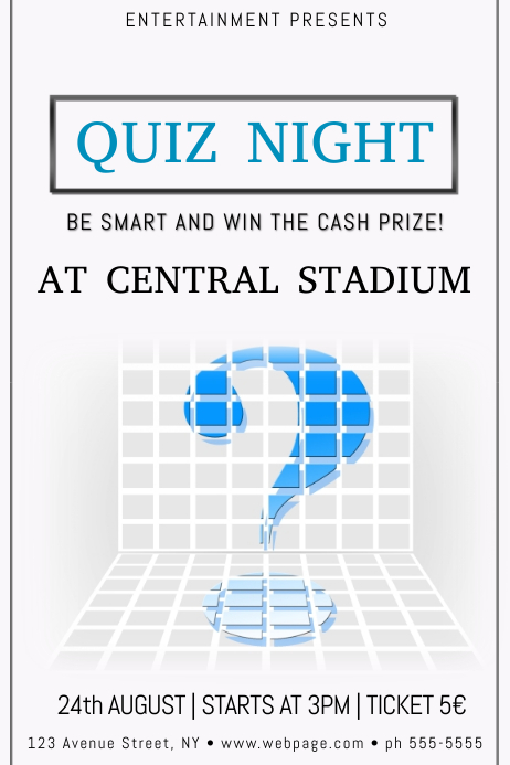 copy of quiz night poster flyer template