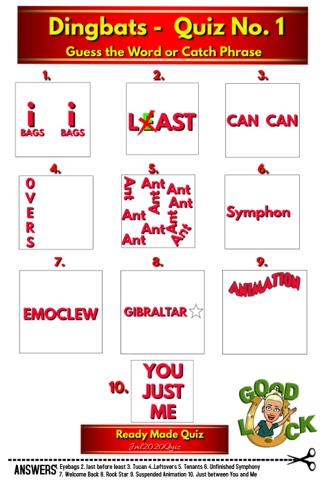 Quiz with Answers DINGBATS Poster template