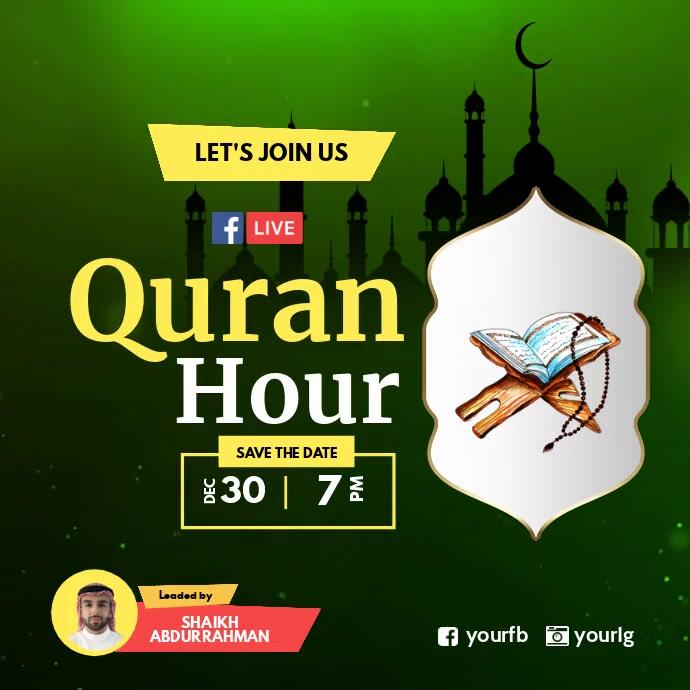 Quran Hour Live Facebook Instagram template