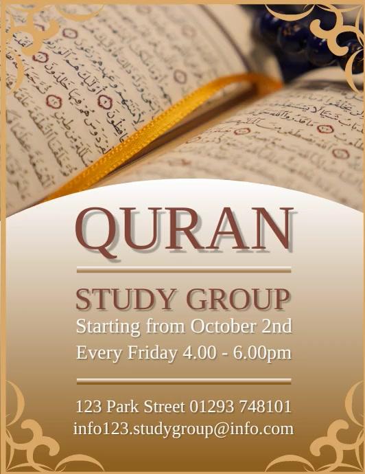 Quran Study Group Design Template Løbeseddel (US Letter)