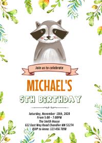 Raccoon birthday party invitation A6 template