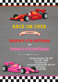 Race car joint Birthday Invitation A6 template