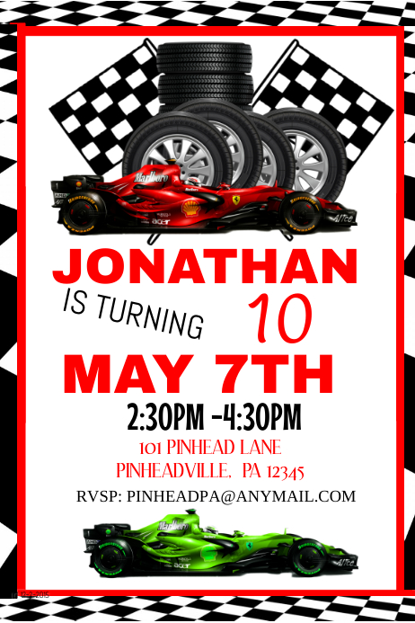 Racing Birthday Invitation Party Template Postermywall