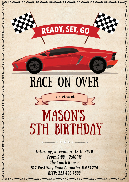 Racing formula birthday party invitation A6 template