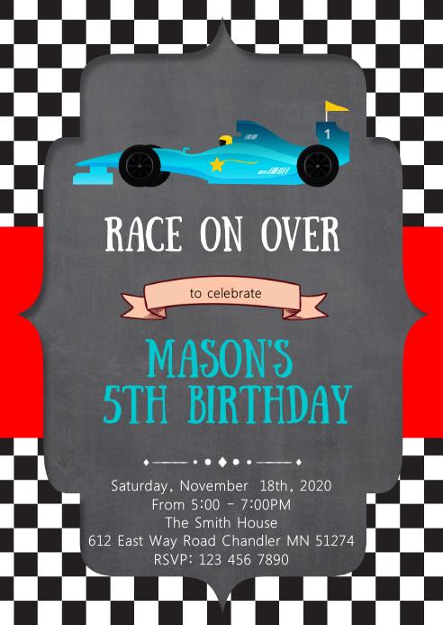 Racing formula birthday party invitation