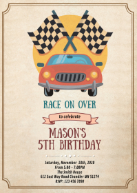 Racing formula birthday party invitation