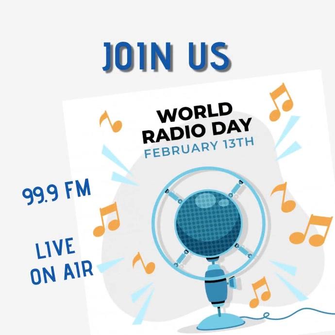 Radio day talk show animated 2 Publicación de Instagram template