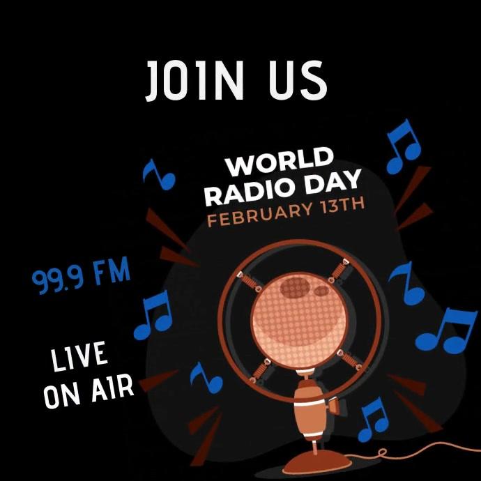 Radio day talk show animated Publicación de Instagram template