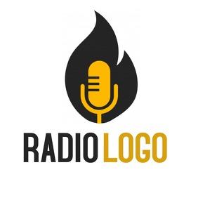 Radio logo black fame and yellow microphone