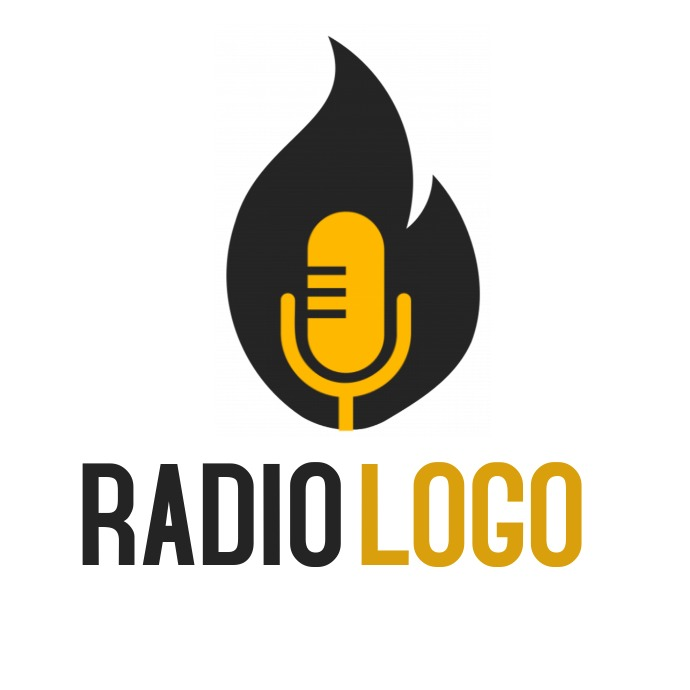 Radio logo black fame and yellow microphone