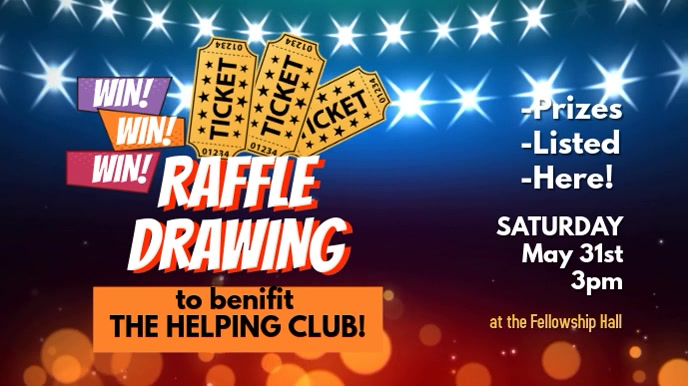 Raffle Ticket Benefit Drawing Digital Display