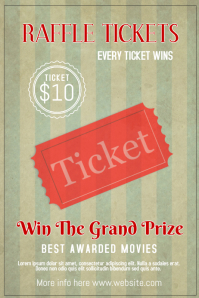 Raffle ticket bingo event poster template